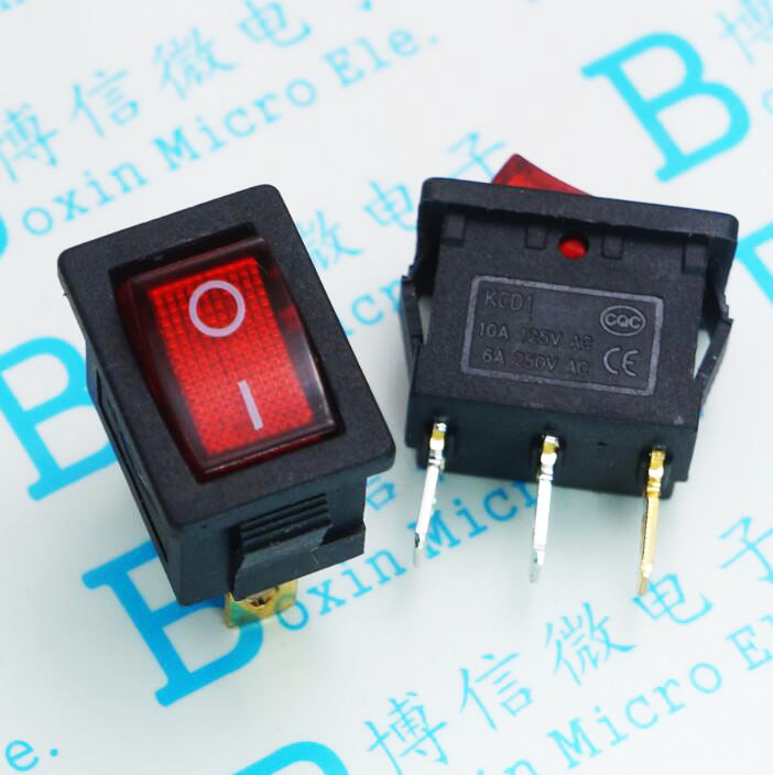 Envío Gratis 100 unids/lote KCD1 15*21 MM de tres patas interruptor basculante dos tramos de negro interruptor de potencia 3 pies 2 archivos