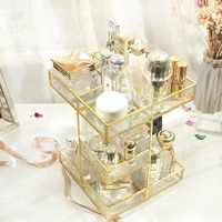 european rotary cosmetics storage box glass transparent retro desktop skincare finishing box dormitory shelf gift