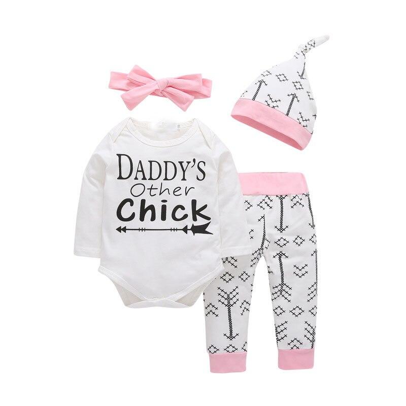 4 Uds. Conjuntos de ropa para recién nacidos y niñas, otro Body para papá, pantalones con flechas, sombrero y Diadema, ropa para chico y chica