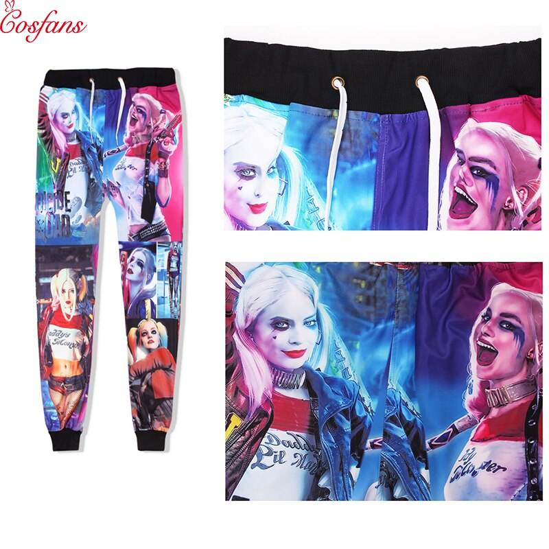 Pantalones Harley quinn Suicide Squad, disfraces de cosplay para hombres, pantalones para correr, pantalones deportivos, pantalones de Fitness, ropa deportiva, pantalones Harem