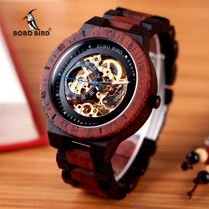 BOBO BIRD Wooden Mechanical Watch Men Relogio Masculino Big Mens Watches Top Brand Luxury Timepieces