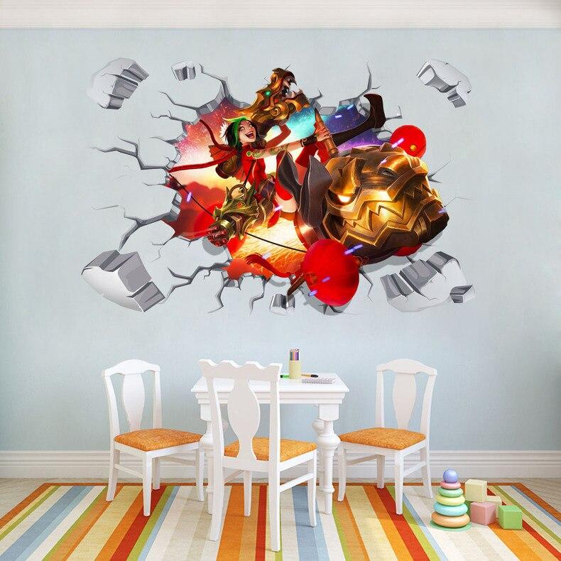 League Of Legends, pegatinas de pared 3D, calcomanía de decoración de vinilo B604, Envío Gratis, extraíble