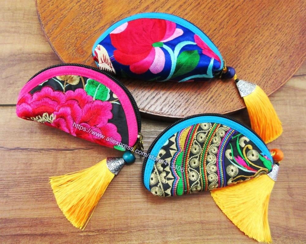 Bolso de cosméticos vintage estilo indio bordado de Hmong, 3 uds., bolso de mano de moda, bolso de mano bohemio Hippie étnico, SYS-1027
