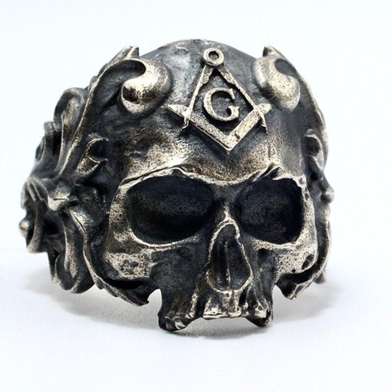 Plata de Ley 925 de plata maciza BIKER ROCKER calavera esqueleto GOTH hombre anillo masónico A3188