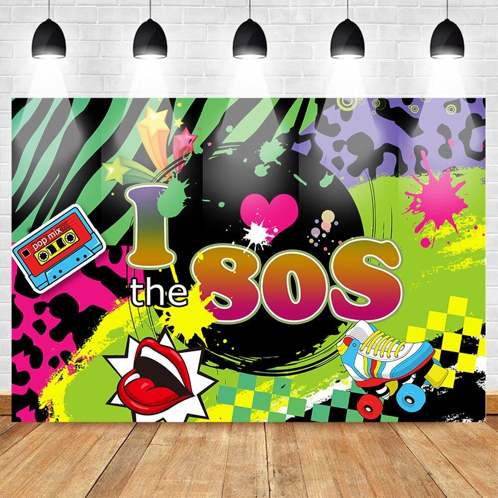 Mehofoto 80s tema fotografía telones de fondo cumpleaños de vuelta a 80s Cartel de la fiesta Fondo rodillo de graffiti patines Hip Hop fotófono