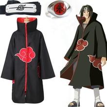 Anime Naruto Akatsuki manteau Cosplay Costume Uchiha Itachi anneau bandeau hommes cadeaux Sasuke manteau Robe Cape Halloween carnaval