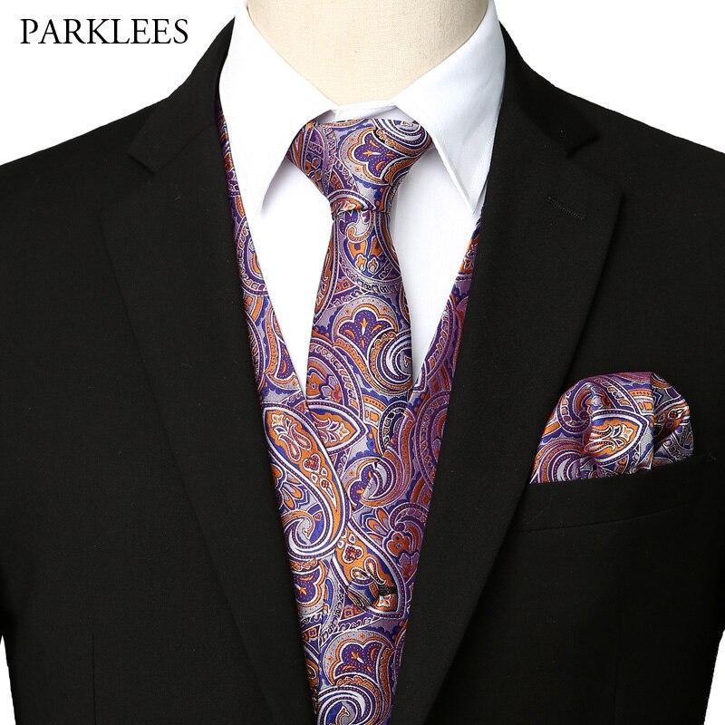 Chaleco de fiesta de boda para Hombre 3 uds Chaleco conjunto de pañuelo y corbata 2019 nuevo vestido de Cachemira elegante chalecos Chaleco Hombre
