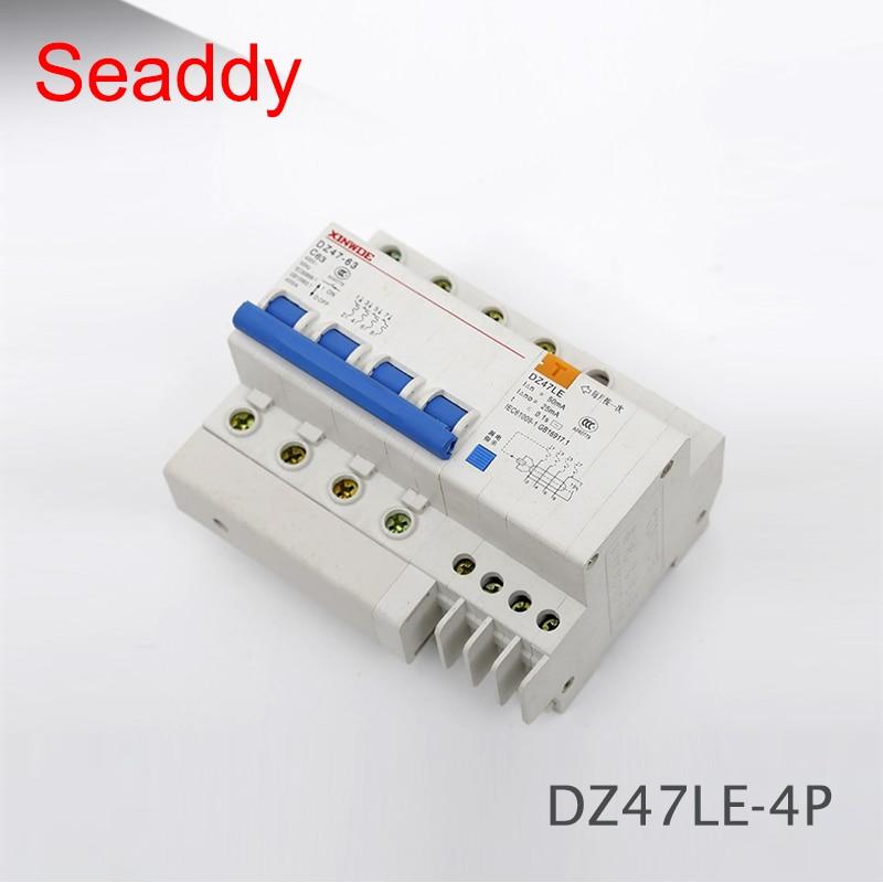RCBO RCD Disjuntor DZ47LE 4 P 6A 16A 20A 25A 32A 40A 50A 63A 100A