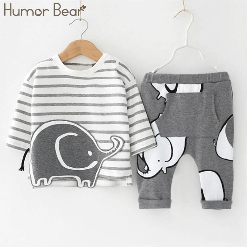 Humor Bear/Одежда для маленьких мальчиков комплекты одежды для маленьких мальчиков Модный комплект из 2 предметов футболка с длинными рукавами ...