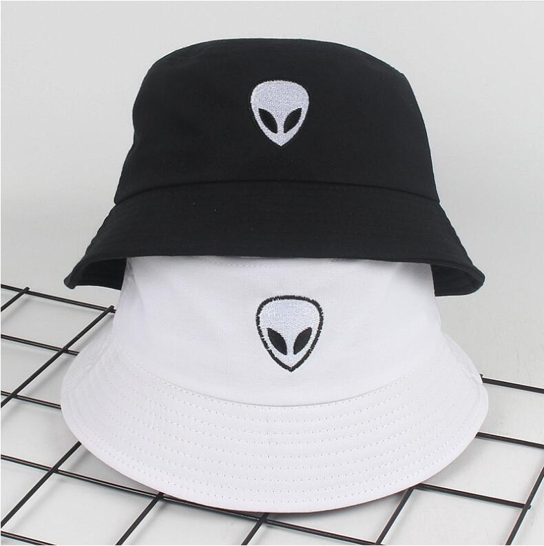 Gorras Hip Hop Gorros hombres mujeres negro blanco sólido Alien cubo sombrero Unisex Bob verano Panamá gorra Playa Sol pesca sombrero mexicano 2019