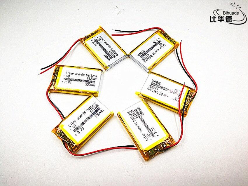 2019 la nueva calidad 100 unids/lote 3,7 V, 550 mAH, batería de iones de litio/polímero 612338 para grabadora de datos de automóviles, GPS, mp3, mp4