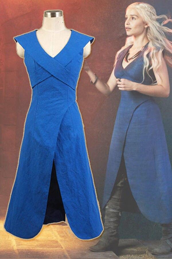 De tronos cosplay daenerys targaryen traje azul vestido de linho uniforme festa de halloween fantasias cosplay para mulher
