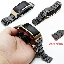 PEIYI Pearl Ceramics Watch Chain Fashion Replacement Belt For HUAWEI B2 B3 B5 Black White Ceramic strap