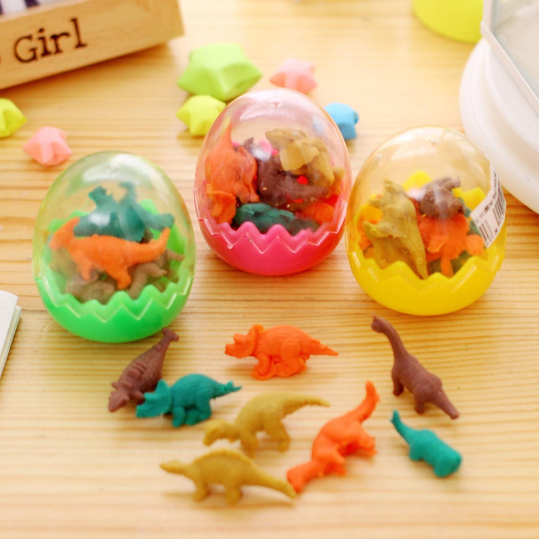 24PCS Assorted Color Mini Cute Cartoon Dinosaur Egg Eraser Dinosaur Pencil Erasers Toys Students School Gift Stationery Supplies