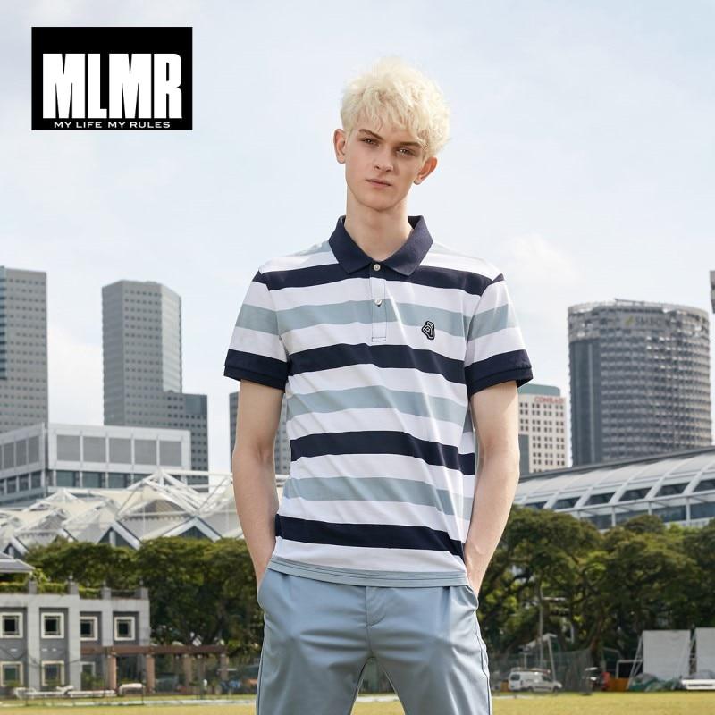 Polo de algodón 100% para hombre MLMR, parche bordado a rayas en contraste, cuello vuelto ajustado, polos de estilo   219106506