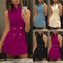 Women's Fashion Sleeveless Stand Collar Bodycon Dress Solid Formal Party Mini Dress Double Breasted