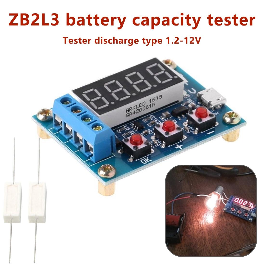 Verificador de descarga zb2l3 do analisador do indicador de carregamento 1.2-12 v da bateria do verificador da capacidade da bateria do chumbo-ácido da bateria do lítio