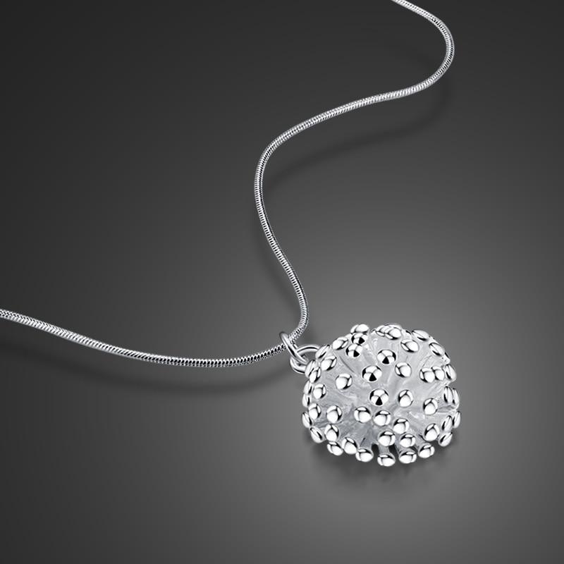 Nuevo collar de plata de ley 925 con diseño colgante de diente de león, cadena de serpiente de plata sólida para mujer, collar de clavícula popular bijoux