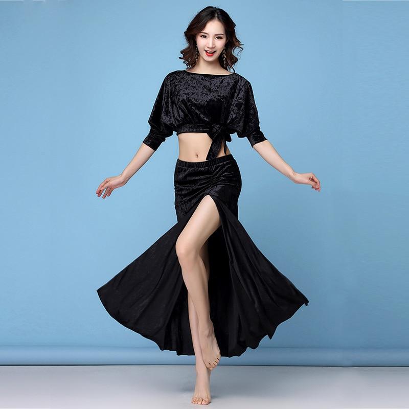 Belly Dance Costume Set Woman Bellydance Top Skirts Training 2-Pieces Oriental
