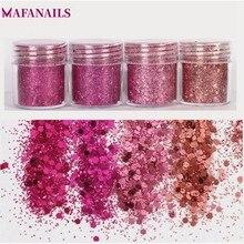 1 boîte (= 10ML) brillant mélange paillettes poudre paillettes pour Nail Art décoration poussière Rose rouge sirène effet manucure paillettes poudre MA-3