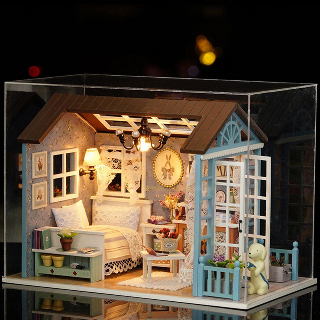 Casa de DIY para muñecas modelo de juguete de madera mini muebles hechos a mano casa de muñecas exquisita casa para muñecas regalos juguetes para niños