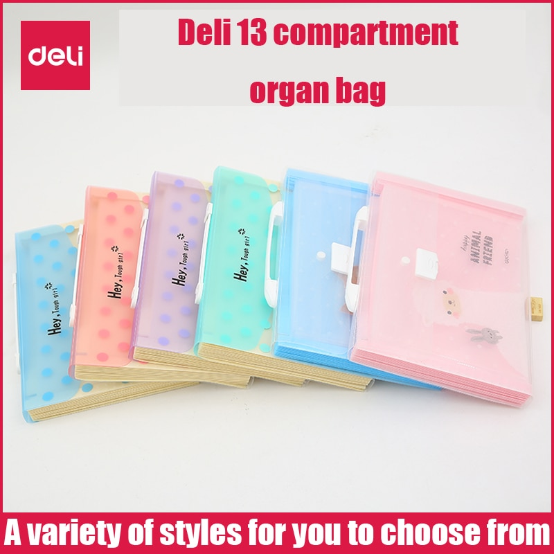 Deli Expanding Wallet student organ bag cute pet female file storage test paper A4 music folder creative information package folder multilayer student receive bag with small fresh organ folder data receive bag organ bag a4 test paper receive