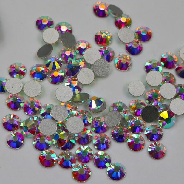 Cristal AB de 3D decoraciones ss3 ss4 ss5 ss6 ss10 ss12 ss16 ss20 ss30 ss34 ss40 ss50 de vidrio/de cristal no HotFix arte de uñas de diamantes de imitación