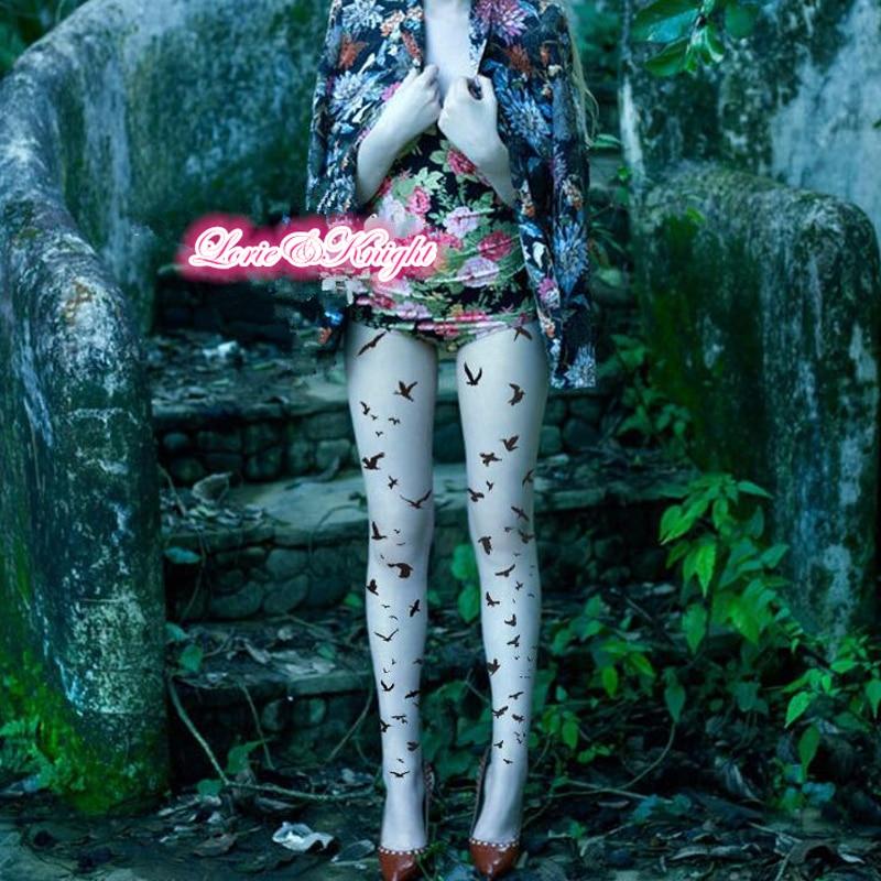 Medias con estampado de aves voladoras, medias transparentes de verano para mujer