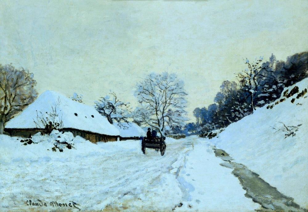 100% artesanal paisagem pintura a óleo reprodução em tela de linho, carrinho-sobre-a neve-coberto-estrada com-saint-simeon-farm por monet