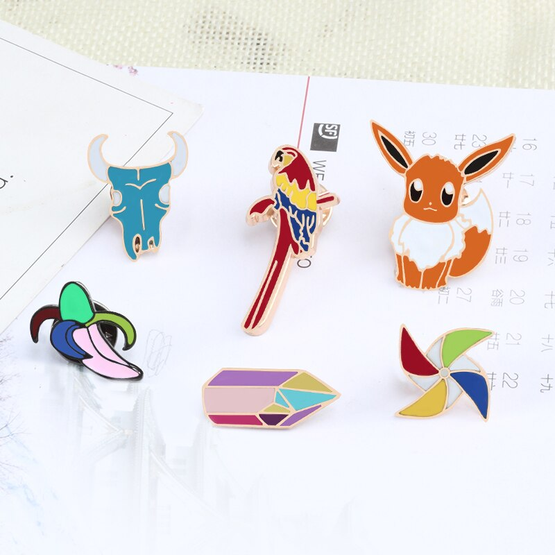 Cartoon Bull Head Squirrel Bird Animal Enamel Pin Women Brooches Backpack Collar Denim Metal Badge Jewelry Brooch Wholesale