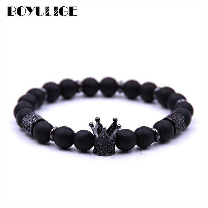BOYULIGE браслеты с черными бусинами Cz Корона Браслет из натурального камня для мужчин и женщин ювелирные изделия дружба влюбленные подарочные...