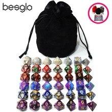6 Sets Acryl Polyhedrale Dobbelstenen Plus 1 pcs Big Tasje voor Dungeons And Dragons RPG Tafel Games D4 D6 d8 D10 D % D12 D20