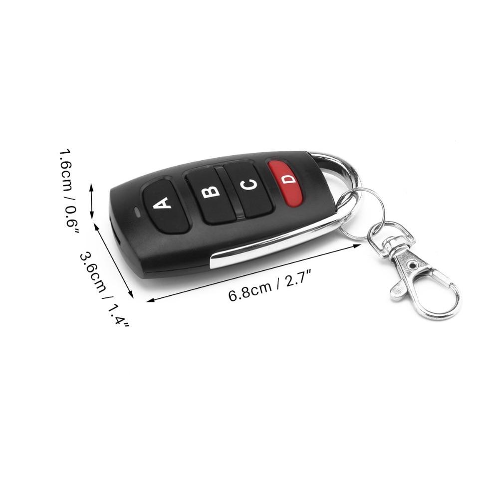 Interruptor de controle remoto sem fio 4key porta da garagem ev1527 código aprendizagem universal auto sistema alarme carro 433 mhz