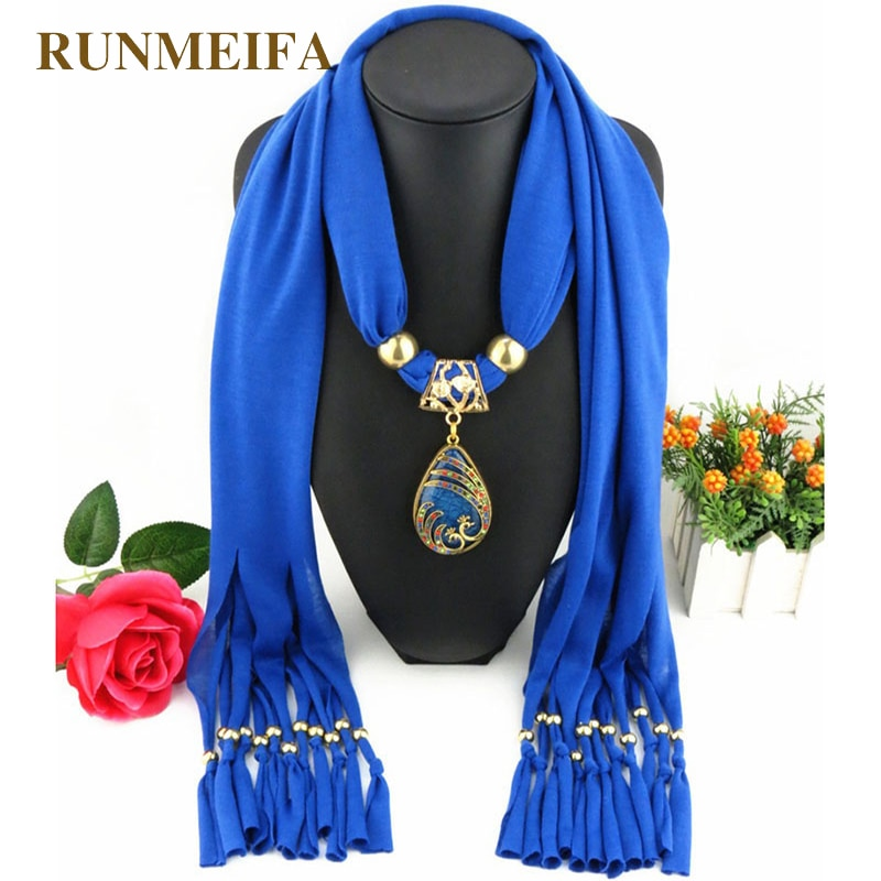2018 Fashion Vintage Bohemian Big Resin Water Drop Pendant Solid Polyester Long Tassel Scarves Necklace for Women Jewelry scarf