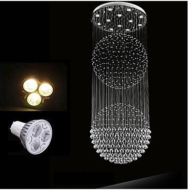 LED Modern K9 Crystal Chandelier 12 Lights Silver transparent Clear Crystal Globe Ceiling Lamps Fixtures 80CM K9 Crystal H210CM 110V 220v  - buy with discount