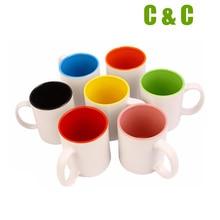Blank white Inner color sublimation mug 11oz ceramic material Top grade washing machine safe NO.M02 96PCS