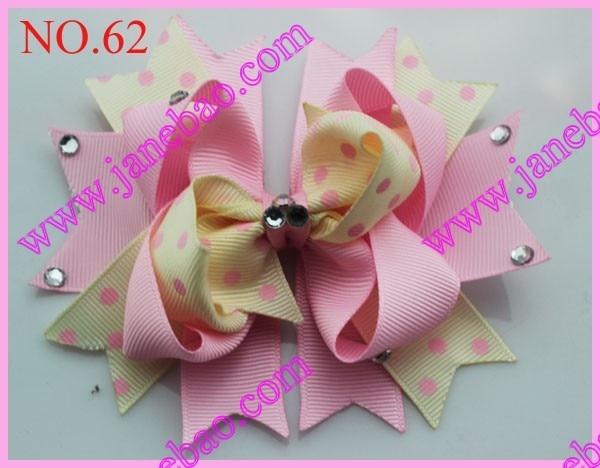 "free shipping 65pcs 4.5"" diamond boutique hair bows easter hair clips feather hair bows"