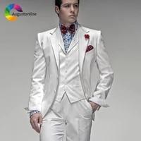 italian men suits white wedding tuxedos groom wear 3 pieces jacketpantsvest abiti da uomo slim fit blazer costume homme