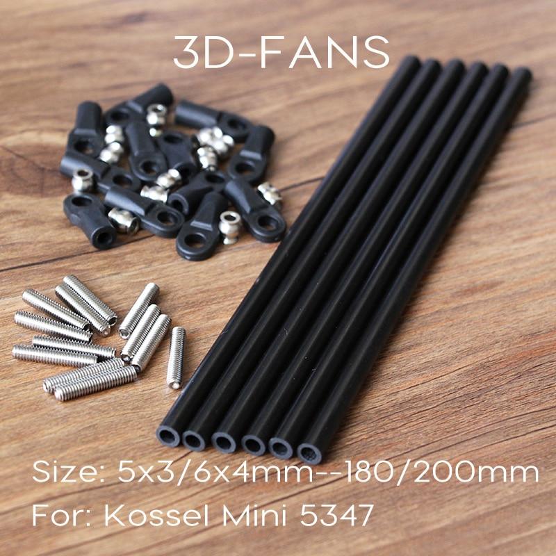 Delta Kossel 3D impresora M3/M4 180/200MM longitud brazo paralelo ojo de pez varilla de carbono K800 Mini 5347 actualización Diagonal barras de empuje