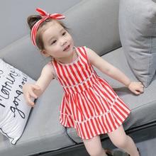 Summer Baby dress girls dress kids cute dress Children beach vestidos toddler dress hollow out striped print hairband 2 to 7 yrs