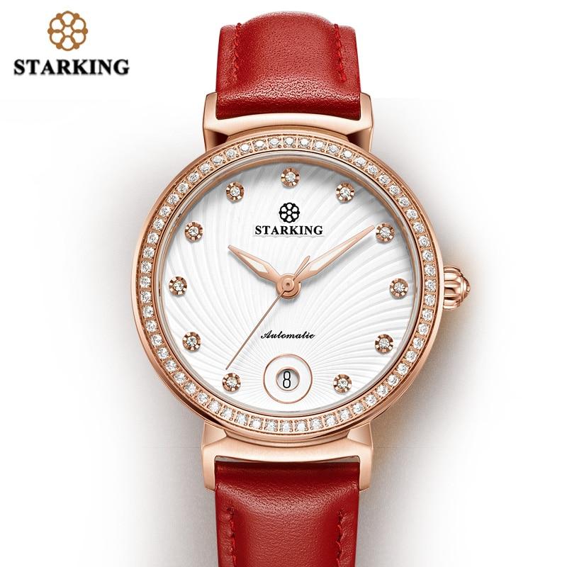 STARKING Womens Watch Top Brand Luxury Diamonds Auto Date Mechanical Watch Hot Red Leather Automatic Self-Wind Women Gifts Clock