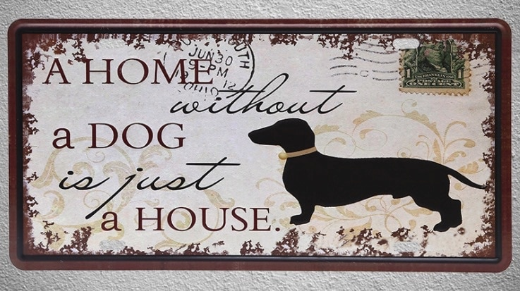 1 pc de casa sin perro mascota sello para postal carteles de hojalata de Bruselas pared Decoración Para cuarto de hombre de Metal arte cartel Vintage