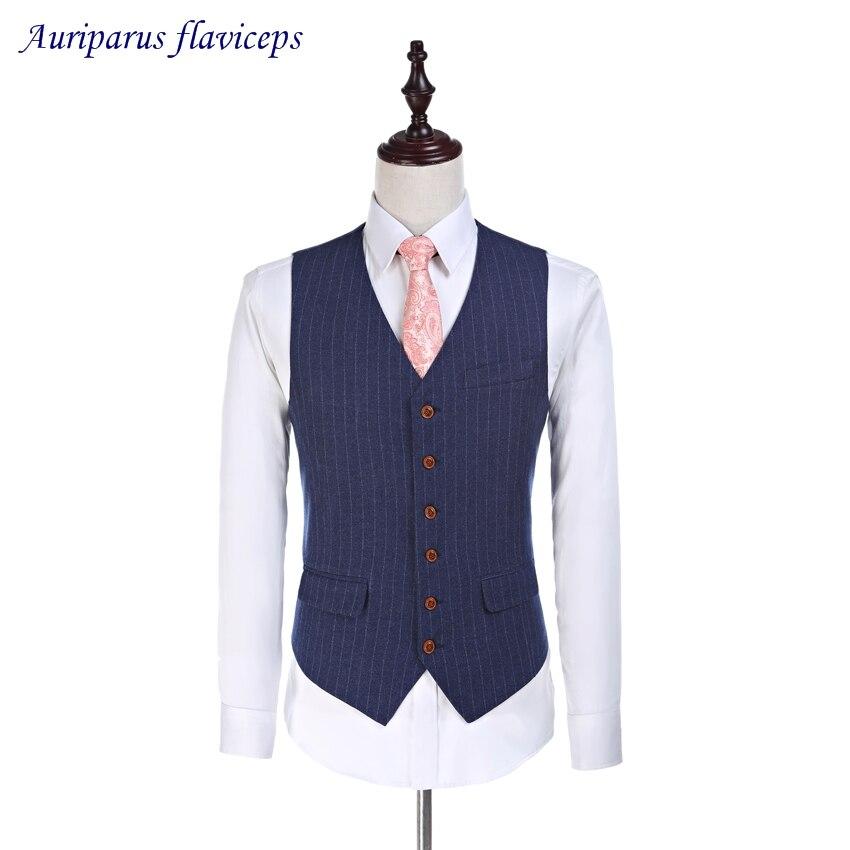 Alta calidad azul marino a rayas padrino Chaleco Ajustado en lana Chaleco de boda 5 botones trajes de lana de estampa 2020 (chaleco)