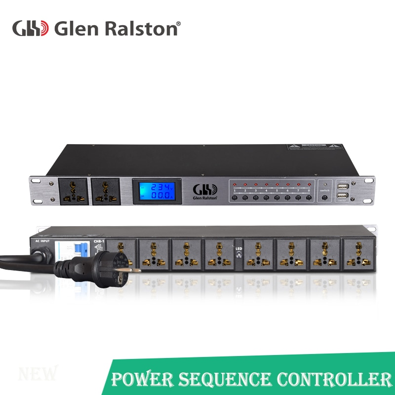 Profesional 10-canal de potencia inteligente momento controlador multi-función de la secuencia de controlador de pantalla de voltaje