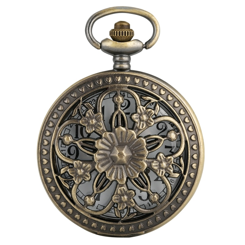 Antiguo bronce hueco Rosa Flores calado cinco puntas flor cubierta Floral ratán bolsillo reloj COLLAR COLGANTE arte colección