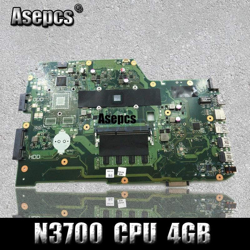 Asepcs X751SA Laptop motherboard N3700 CPU 4GB For Asus X751S X751SJ X751SV Test mainboard X751SA motherboard test 100% ok