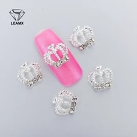 10pcs 3d nail art decorations metal large crown glitter rhinestones nails charms diamonds for manicure decor