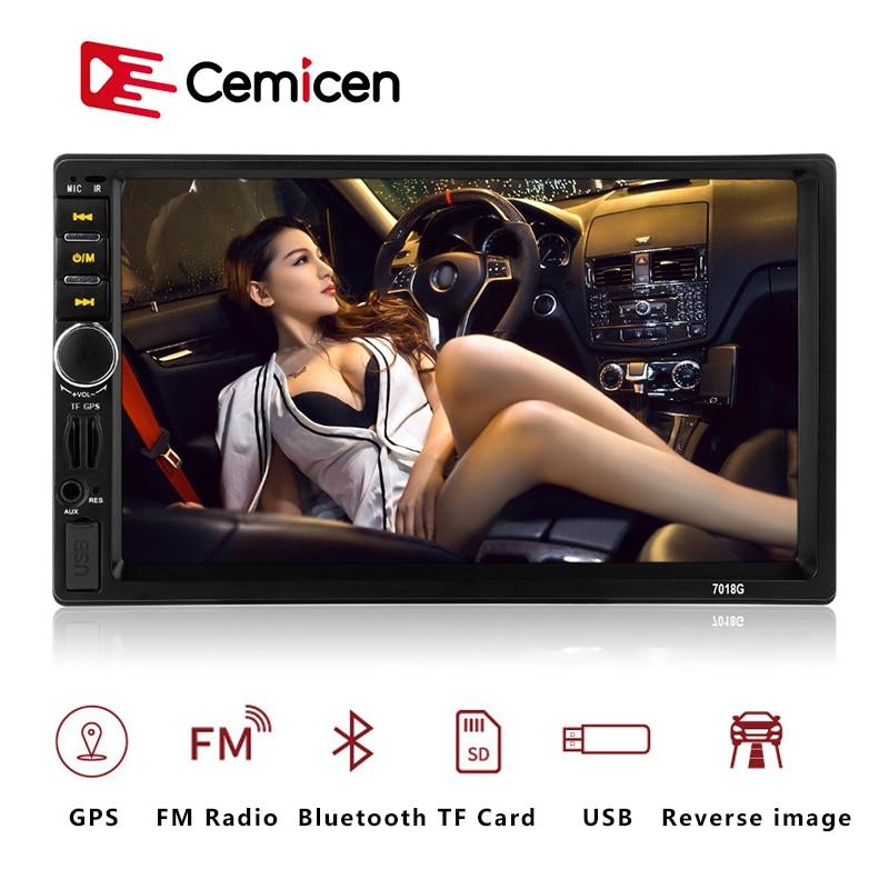 Reproductor Multimedia de coche 7018G 2 Din, navegación GPS, pantalla táctil HD de 7 pulgadas, MP3, MP5, audio estéreo, Radio para coche, Bluetooth, FM, USB