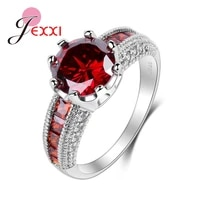 fashion red crystal wedding rings for bride 925 sterling silver jewelry women cz rhinestone engagement anniversary ring