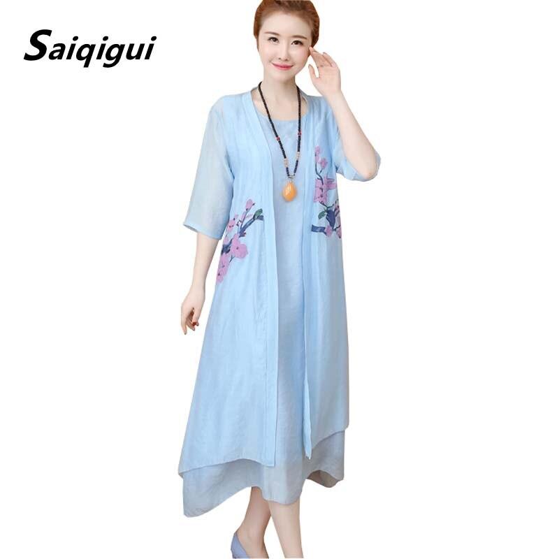 Saiqigui, vestido de primavera 2019, vestido Vintage para mujer, vestido informal holgado de hilo de algodón con cuello redondo, vestidos de fiesta